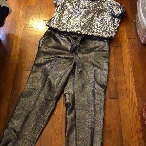 LOFT Shiny Tie-waist Pant